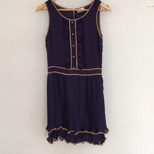 Navy blue and cream designer dress. Summer dress